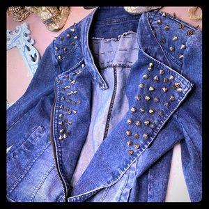 Jackets & Blazers - Spiked cone studded moto jean jacket